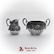 Baroque Fluted Octagonal Creamer Sugar Bowl Set Sterling Silver 1892 Birmingham