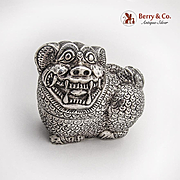 Foo Dog Form Betel Nut Box Sterling Silver