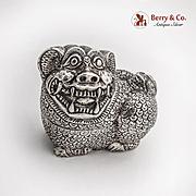 Foo Dog Form Betel Nut Box Sterling Silver