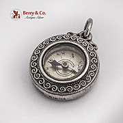 Vintage Small Compass Pendant Scroll Rim Shreve Co Sterling Silver