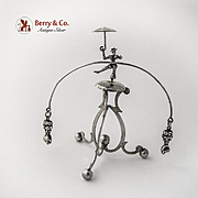Balancing Toy Dancer With Umbrella Figural Weights Ball Feet Sterling Silver 1940