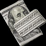 Vintage Engraved Money Clip Sterling Silver Top White Metal
