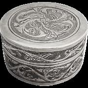 Vintage Floral Chased Round Dresser Box Sterling Silver