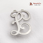 Ornate Curly F Letter Napkin Clip Sterling Silver