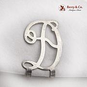 Figural Openwork D Letter Napkin Clip Sterling Silver