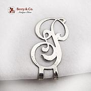 Vintage Curly Napkin Clip Letter P Apollo Silver Co Sterling Silver