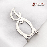 Openwork Curly J Letter Napkin Clip Sterling Silver