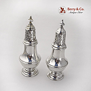 Colonial Revival Salt Pepper Shakers Set Gorham Sterling Silver