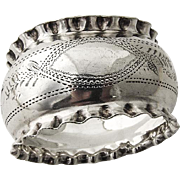 English Engraved Napkin Ring Pie Crust Rims Sterling Silver 1902 Birmingham