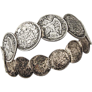Vintage Unusual Silver Coin Napkin Ring Monogrammed