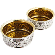 Repousse Floral Open Salts Pair Gilt Interior Gorham Sterling Silver 1890