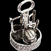 Japanese Silver Figural Salt Pepper Mustard Pot Set Stand 1930