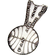Pan American Airlines Souvenir Money Clip Christmas 1959 Sterling Silver