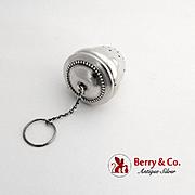 Vintage Acorn Form Tea Ball Gilt Interior Beaded Hinged Lid Sterling Silver