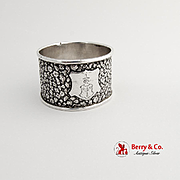 Floral Napkin Ring Double Crest German 800 Silver 1900