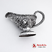 Repousse Rose Gravy Boat Stieff Sterling Silver 1923 Date Mark Monogram