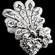 Figural Peacock Grape Paper Clip Dutch 833 Silver 1896 Date Mark