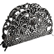 Openwork Ornate Letter Napkin Holder Musical Cupids German 835 Silver 1960