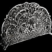 Openwork Ornate Letter Napkin Holder Musical Cupids German 835 Silver 1960