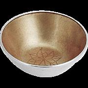 Danish Salt Dish Yellow Enamel Interior Michelsen Sterling Silver 1960
