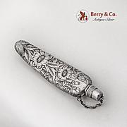Floral Acid Etched Perfume Bottle Flask Gorham Sterling Silver 1890