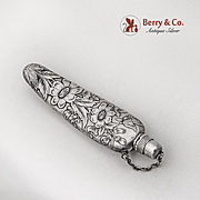 Floral Acid Etched Perfume Bottle Flask Gorham Sterling Silver 1890