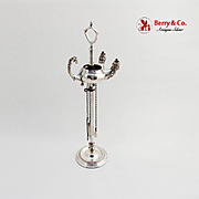 Figural Double Oil Lamp Stand Tools Continental European 800 Silver 1875