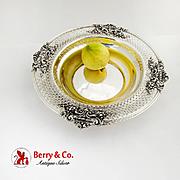 Georgian Style Serving Bowl Openwork Fruit Urn Scroll Border Sterling Silver