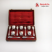 French Egg Cups Spoons Boxed Set Cracked Eggshell Form 950 Sterling Silver