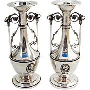 Large Ornate Medallion Bud Vases Pair Wood Hughes Coin Silver 1870