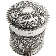 Edwardian Repousse Ornate Dresser Box English Sterling Silver 1906 London