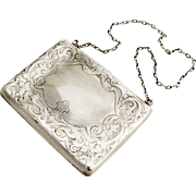 Engraved Chased Hinged Evening Purse R Blackinton Co Sterling Silver 1920
