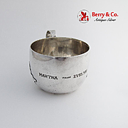 14th Century Childs Baby Cup Applied Hammered Handle Shreve Co Sterling Silver