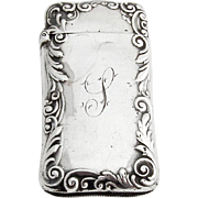 Baroque Floral Scroll Ladies Match Safe Gorham Sterling Silver 1899 Date Mark