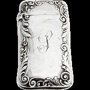 Baroque Floral Scroll Ladies Match Safe Gorham Sterling Silver 1899 Date Mark