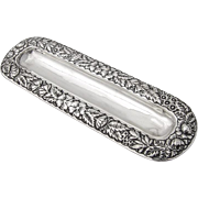 Floral Repousse Pen Tray Ball Feet Gorham Sterling Silver 1893 Date Mark