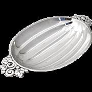 Tiffany Co Melon Bowl Pierced Leaf Vine Handles Ball Feet Sterling Silver 1945