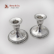 English Gadroon Console Candle Holders Pair Weighted International Sterling Silver