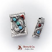 Navajo Silver Cigarette Case Lighter Set Turquoise Coral Insets Applied Decorations