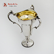 Scroll Triple Handle Loving Cup Gilt Interior Beaded Rim Fluted Foot Sterling Silver