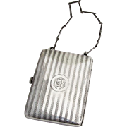 Engine Turned Purse Leather Fittings Sterling Silver 1910 Monogram