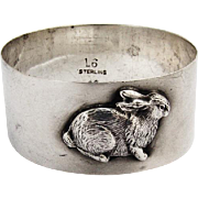 Applied Rabbit Napkin Ring Lunt Silversmiths Sterling Silver 1950