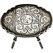 Ornate Engraved Miniature Gate Leg Table Dutch Silver 1900