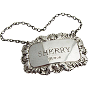 English Foliate Shell Sherry Bottle Tag Label Sterling Silver 1958 London