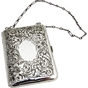 Floral Engraved Change Purse Gilt Interior Theodore Foster Bros Sterling Silver 1910