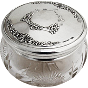 Floral Repousse Dresser Jar Cut Glass Gilt Interior Sterling Silver Webster 1930