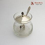 Vintage Jam Jar Cut Crystal Body Sterling Silver Lid Spoon 1940
