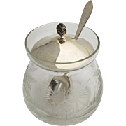 Vintage Jam Jar Cut Crystal Body Sterling Silver Lid Spoon 1940