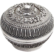 Asian Round Ornate Repousse Betel Nut Box 900 Standard Silver