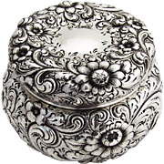 Repousse Floral Dresser Jar Gilt Interior Howard Co Sterling Silver 1890
